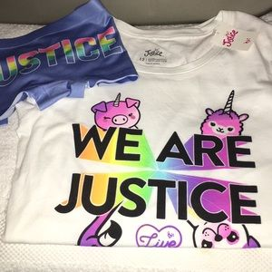 Justice 2-pc NWT shirt 👚 and panties size 12